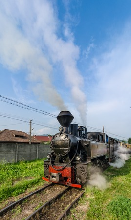 The Well known Mocanita train in Vaser Valley, Maramures County runs on the railway constructed in 1933-1935 photo