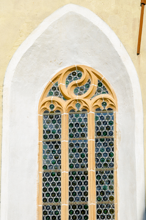 biertan: Woodcarved frame window, traditional motiv from Biertan, Romania