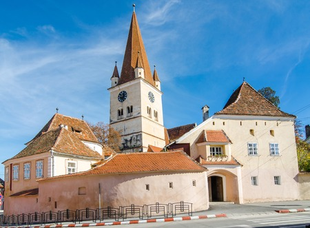 evangelical: Fortified Evangelical Church Cisnadie, was built in 1349 in honor of Saint Walpurga  Sibiu, Transylvania, Romania