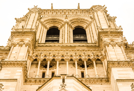 ile de la cite: Cathedrale Notre-Dame de Paris, Our Lady of Paris is a beautiful cathedral on the Ile de la Cite in Paris.; is an important example of French Gothic architecture, sculpture and stained glass. Stock Photo