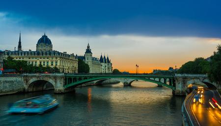 The Palais de Justice in the Île de la Cité in central Paris, France. Among the oldest surviving buildings of the former royal palace are the Sainte Chapelle and the Conciergerie, a former prison. photo