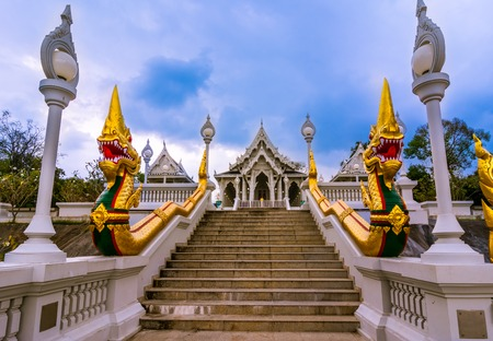 thanon: Wat Kaew temple in Krabi, Thailand  Wat Kaew  one of the main temples  to some it may look like a shiny white wedding cake  located on Thanon Maharat close to Th  Pattana