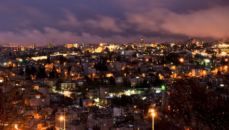 Panoramic view on Saint Town Jerusalem, night view. photo