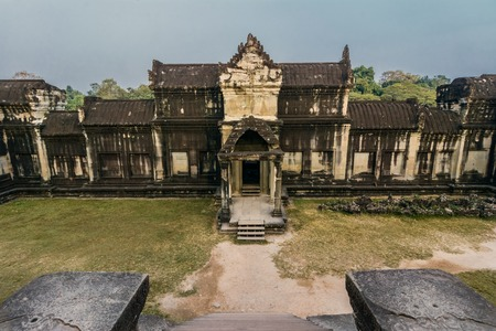 subsequently: Angkor Wat was first a Hindu,then subsequently,a Buddhist temple complex in Cambodia and the largest religious monum. in the world.The temple was built by the Khmer King Suryavarman II in 12th century