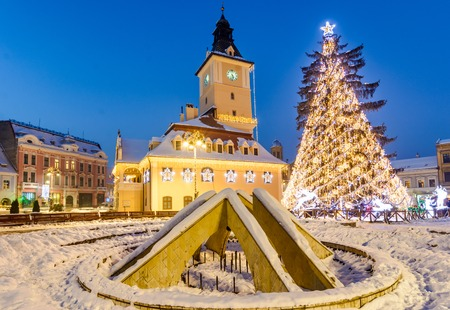 brasov: Old city square of Brasov during winter holidays, Brasov Romania