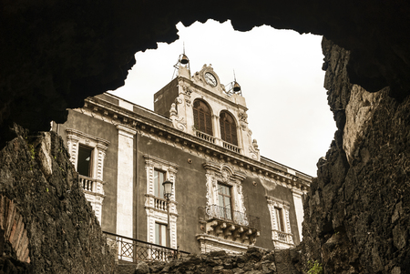 catania: Old building in Catania made with volcanic rock.