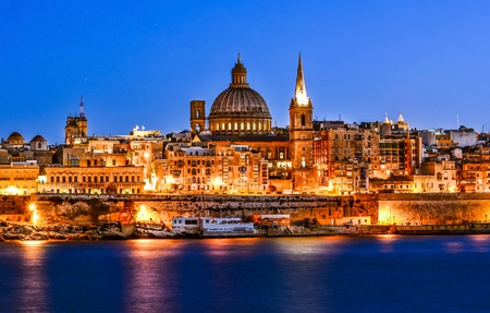 Valetta and Marsamxett Harbour. The stunning view from Sliema. Malta. Фото со стока