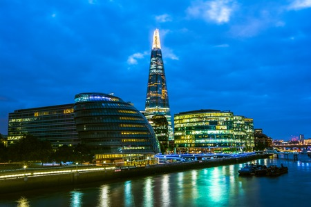 glass building: London cityscape around Southwark, on the south bank of the River Thames near Tower Bridge. Stock Photo