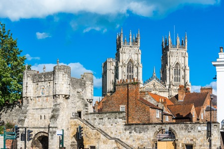 minster: York city view with the mediaeval gate tower and York Minster in the background