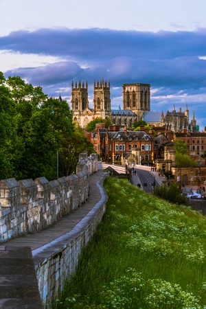 minster: York cityscape view from the mediaeval walls with York Minster in the background. Stock Photo