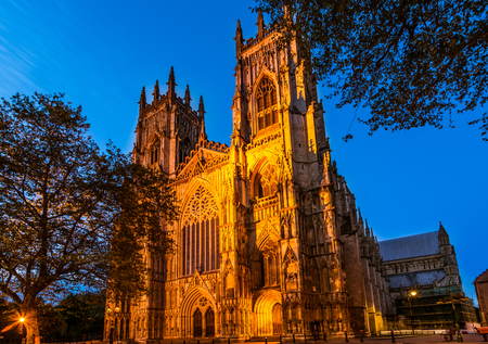 one of a kind: York Minster in the evening is the cathedral of York England and is one of the largest of its kind in Northern Europe