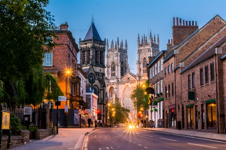 York evening cityscape view from the street with York Minster in the background. Stock Photo