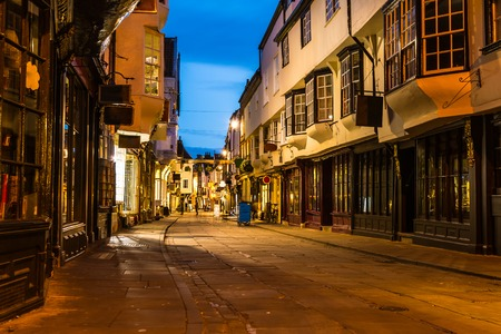 Old street view in York, England in the evening.