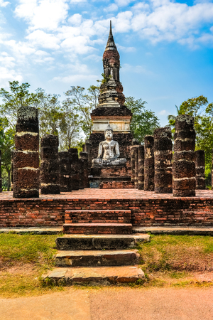buddhist stupa: Old chedi, Buddhist stupa, in Sukhothai, Thailand Stock Photo