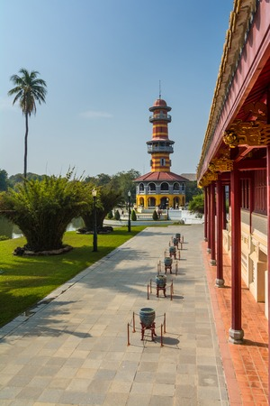 bang: Observator tower into the royal garden, Bang Pa-In, Thailand