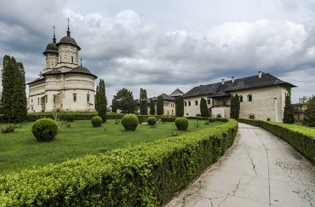 cetatuia: Cetatuia monastery is located on top of Cetatuia Hill of the old Moldavian capital, the monastery was built by Prince Gheorghe Duca in the 17th century. Stock Photo