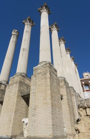 columnas romanas: Roman columns of the temple of Cordoba from the street, Spain