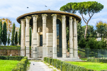 The Temple of Hercules Victor or Hercules Olivarius is an ancient edifice located in the Forum Boarium in Rome. Dating from the later second century BC the temple consists of a circular cella within a concentric ring, Corinthian columns resting on a tuff