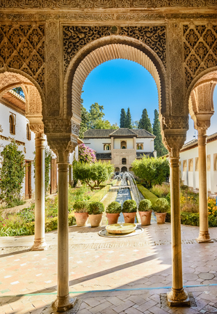 Courtyard of the Alhambra from Granada, Spain