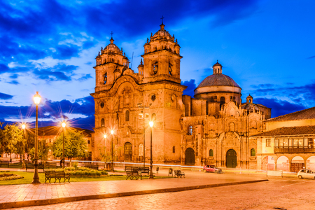 Cusco, Peru - Plaza de Armas and Church of the Society of Jesus or Iglesia de la Compania de Jesus Stock Photo