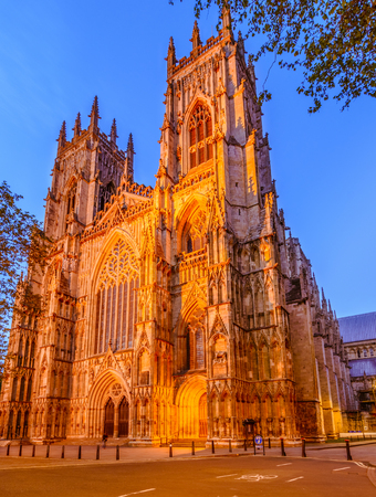 York Minster in the evening is the cathedral of York, England, and is one of the largest of its kind in Northern Europe Reklamní fotografie - 79274304
