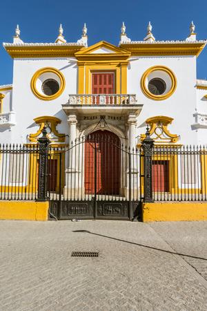 corrida de toros: Entrance at the Bullfight arena, plaza de toros in Seville,La Maestranza
