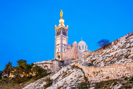 Catholic Basilica of Our Lady of the Guard or Notre Dame De La Garde church on the hill in Marseille, France