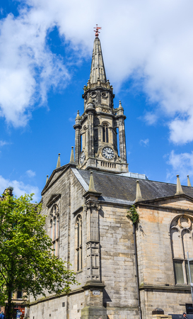 Landmark of Edinburgh, The Tron Kirk, a former principal parish church, Scotland. It was built in the 17th century and closed as a church in 1952. Having stood empty for over fifty years, it was used briefly as a tourist information centre and, more recen Stock Photo