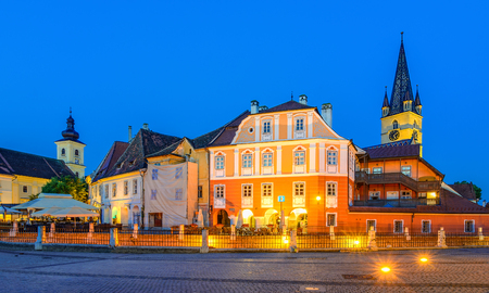 Lutheran Cathedral, seen from the Small Square with Huet Square, medieval Saxon city of Sibiu, Transylvania, Romania Stock Photo