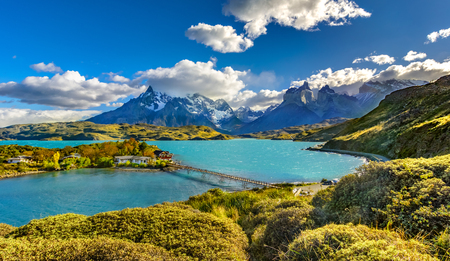 Torres del Paine over Pehoe lake,Patagonia, Chile - Southern Patagonian Ice Field, Magellanes Region of South America 스톡 콘텐츠