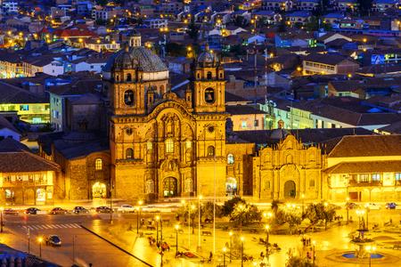 Overview of Plaza de Armas and Church of the Society of Jesus or Iglesia de la Compania de Jesus,Cusco, Peru