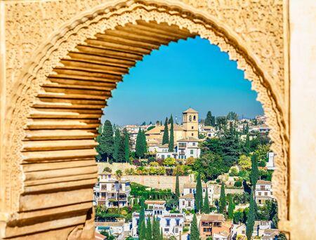 Granada, Spanje - Albaicin Moorse middeleeuwse wijk, traditionele Arabische architectuur van Andalusië. Stockfoto