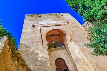 caliphate: Gate of Justice,Puerta de la Justicia,Alhambra, Granada, Spain, Andalusia,Europe: the most impressive gate to Alhambra complex.