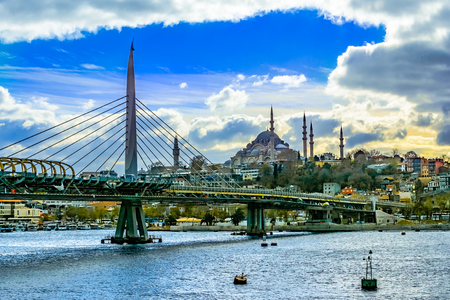 Istanbul cityscape on a sunny day, with Suleymaniye Mosque and its impresive minarets,Istanbul, Constantinople, Turkey