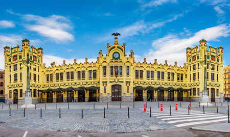 Front view of the central station in Valencia, Spain.