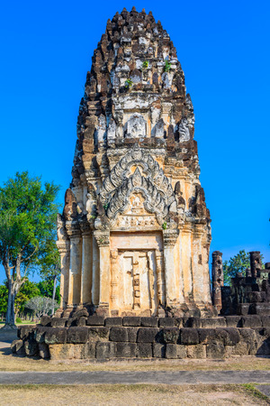 Stupa ruins in Wat Mahathat, historical park which covers the ruins of the old city of Sukhothai, Thailand