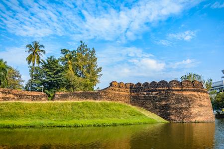 Part of the old city wall and moat at Ku Huang Corner, Chiang Mai, Thailand Stock Photo