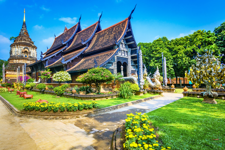 Courtyard with Old chedi and Wat Lok Moli temple in Chiang Mai,Thailand Asia