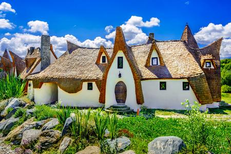 Porumbacu ,Sibiu, Romania- July 19, 2017: Fairytale clay castle of Porumbacu village, in Sibiu Region Romania Editorial