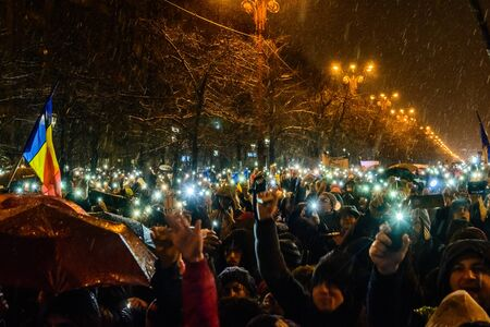 Bucharest,Romania January 20, 2018. More than 70,000 people demonstrated against the policy of the ruling PSD-ALDE party for a new legislation that will stop the fight against corruption