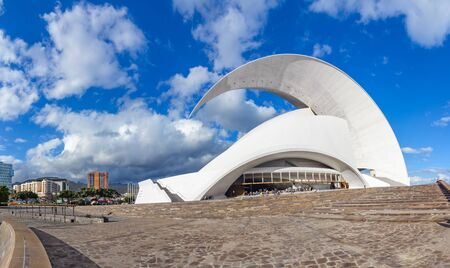 Santa Cruz de Tenerife, Canary Islands, Spain - February 8, 2018: Auditorio, iconic landmark - opera house of Santa Cruz de Tenerife, built in 2003 in organic shapes, designed by Santiago Calatrava