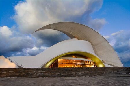 Santa Cruz de Tenerife, Canary Islands, Spain - February 20 2018: Auditorio de Tenerife, iconic landmark - opera house of Santa Cruz de Tenerife in organic shapes, designed by Santiago Calatrava Redakční