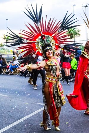Santa Cruz de Tenerife, Spain, Canary Islands: February 13, 2018: Carnival dancer on the parade at Carnaval Santa Cruz de Tenerife