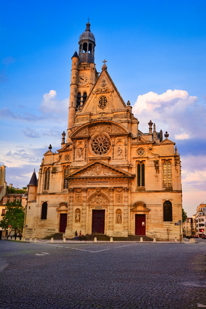 Sainte Genevieve, Paris, France: Saint Etienne du Mont is a church located on the Montagne Sainte Genevieve near the Pantheon. It contains the shrine of St. Genevieve, the patron saint of Paris. Stock Photo
