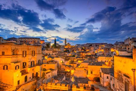 Matera, Basilicata, Italy: Night view of the old town - Sassi di Matera, European Capital of Culture, at dawn