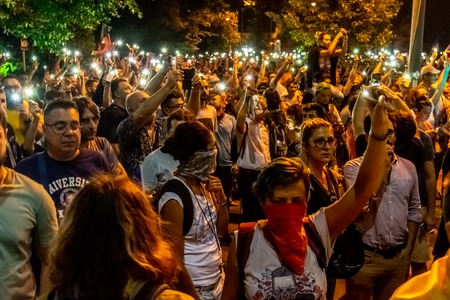 Bucharest, Romania - 10 August 2018: Tens of thousands of protesters have rallied in cities across Romania against the way Romania is governed by the ruling Social Democrat -PSD