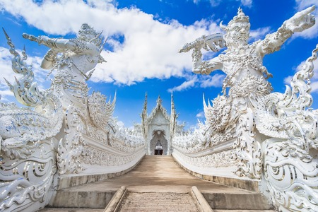 Chiang Rai, Thailand, Asia: Beautiful ornate white temple located in Chiang Rai northern Thailand, a contemporary unconventional Buddhist temple. Reklamní fotografie