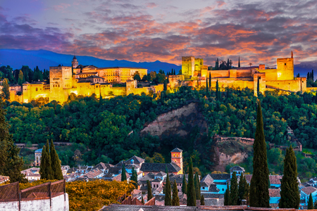 Alhambra, Granada, Spain: Panoramic night-view of the Alhambra, in sunset lights Reklamní fotografie