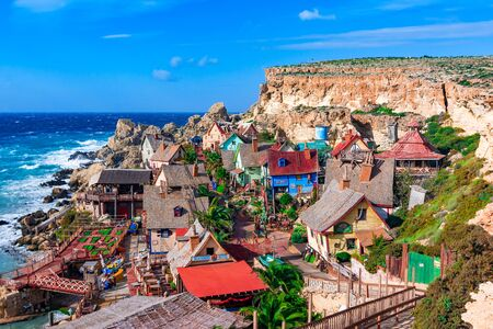 Mellieha, Malta - 28 December 2014: Popeye Village. Popeye Village was used as the set for Robert Altmans movie Popeye and is now in use as an amusement par
