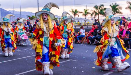 Santa Cruz de Tenerife, Spain, Canary Islands - February 13, 2018: Carnival dancers on the parade at Carnaval Santa Cruz de Tenerife